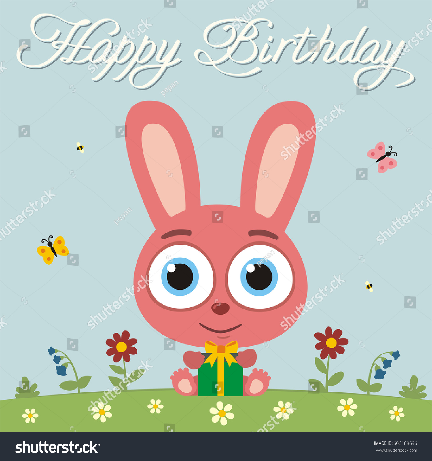 Happy birthday funny bunny rabbit gift stock vector 606188696 funny bunny rabbit with gift in cartoon style card with bunny rabbit negle Image collections