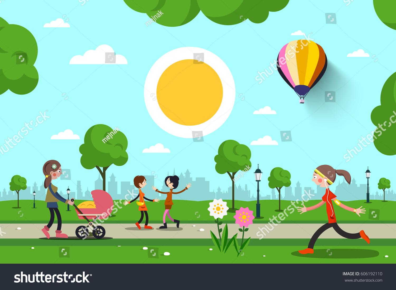 people city park vector cartoon stock vector 606192110 - shutterstock