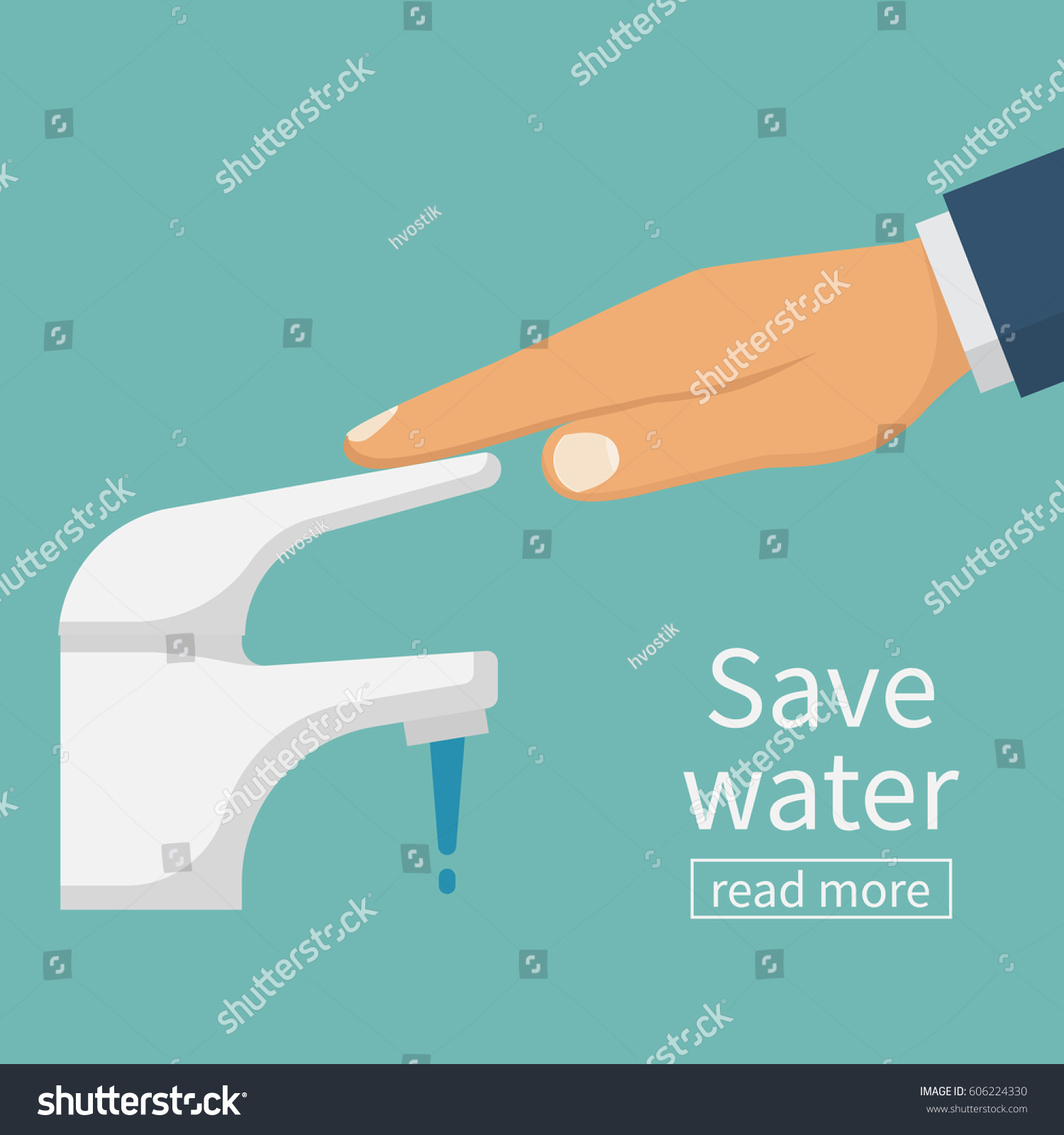 Save Water Concept Man Closes Hand Stock Vector 606224330 - Shutterstock