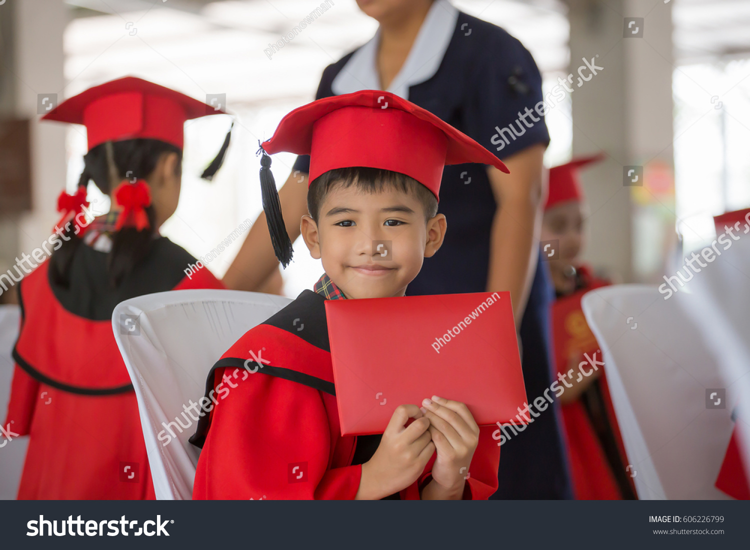Asian Boy Red Graduation Gown Stock Photo (Edit Now) 606226799 ...