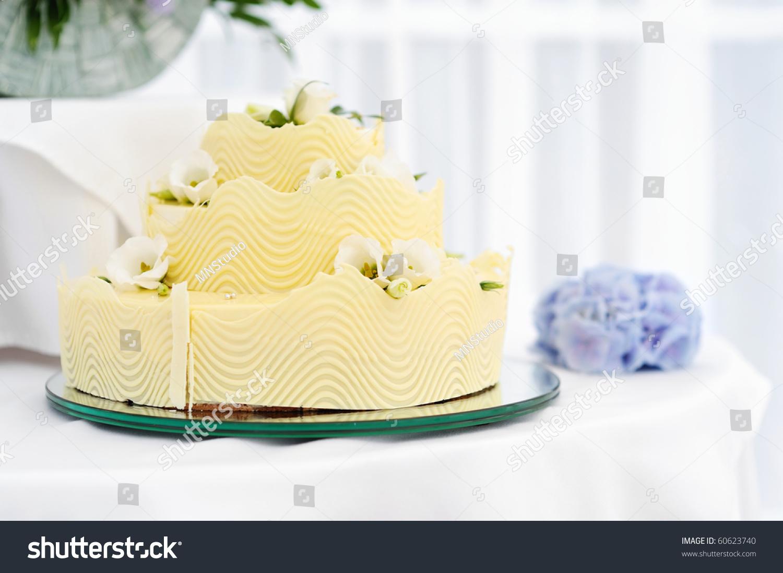 Fancy Yellow Wedding Cake Stock Shutterstock