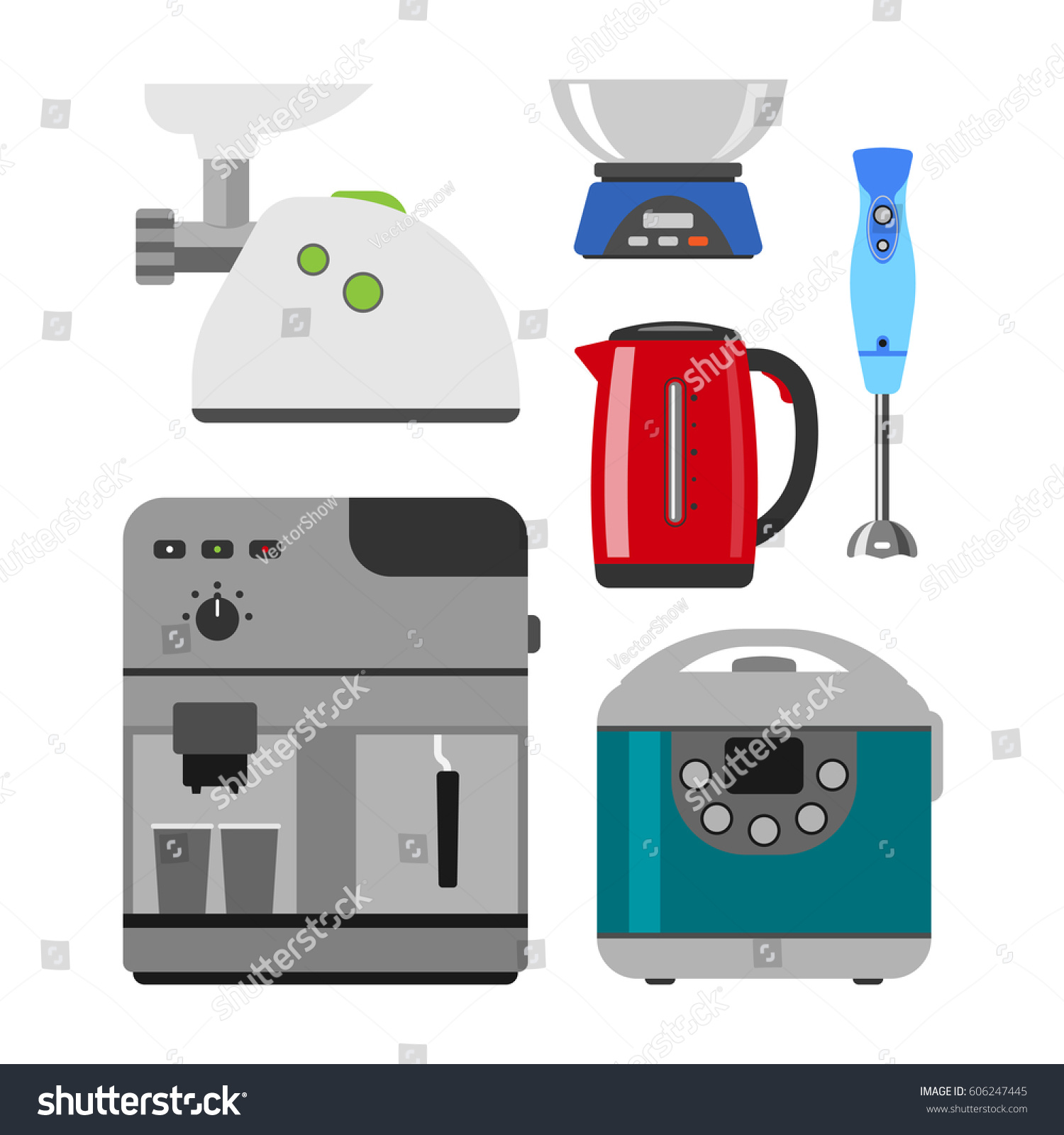 Home Appliances Cooking Kitchen Home Equipment Stock Vector (2018 ...