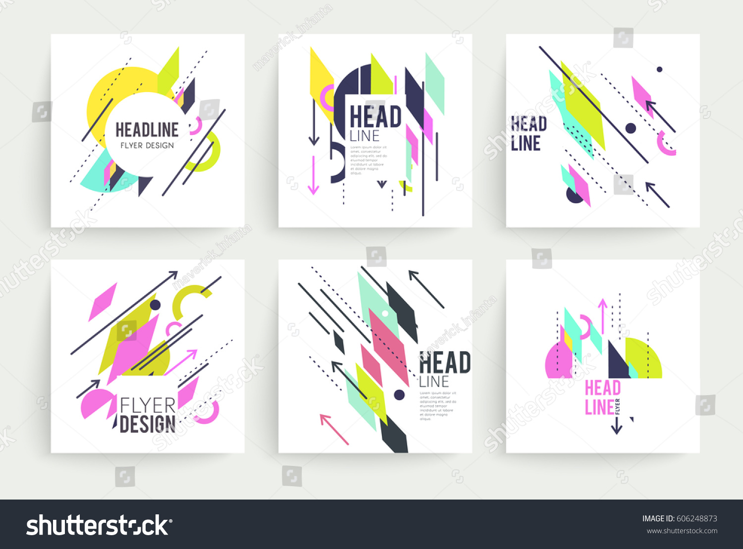 Set geometric abstract colorful flyers brochure stock for Colorful brochure templates
