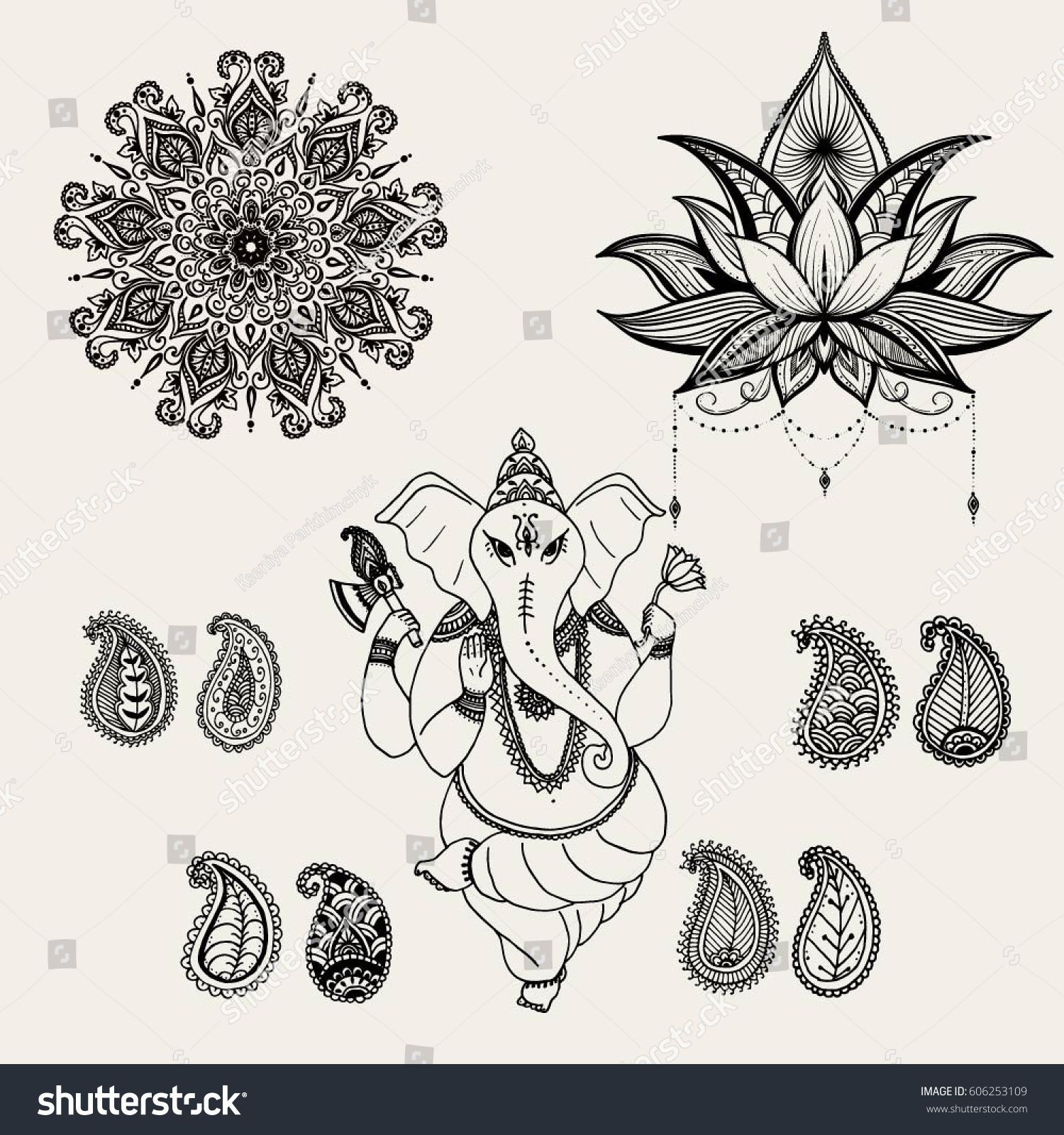 Hindu Elephant God Lord Ganesha Patron Stock Vector Royalty Free