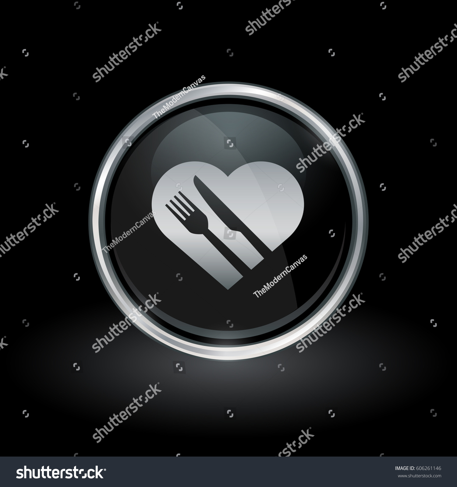 Healthy diet symbol heart knife fork stock vector 606261146 healthy diet symbol with heart knife and fork icon inside round chrome silver and black button biocorpaavc