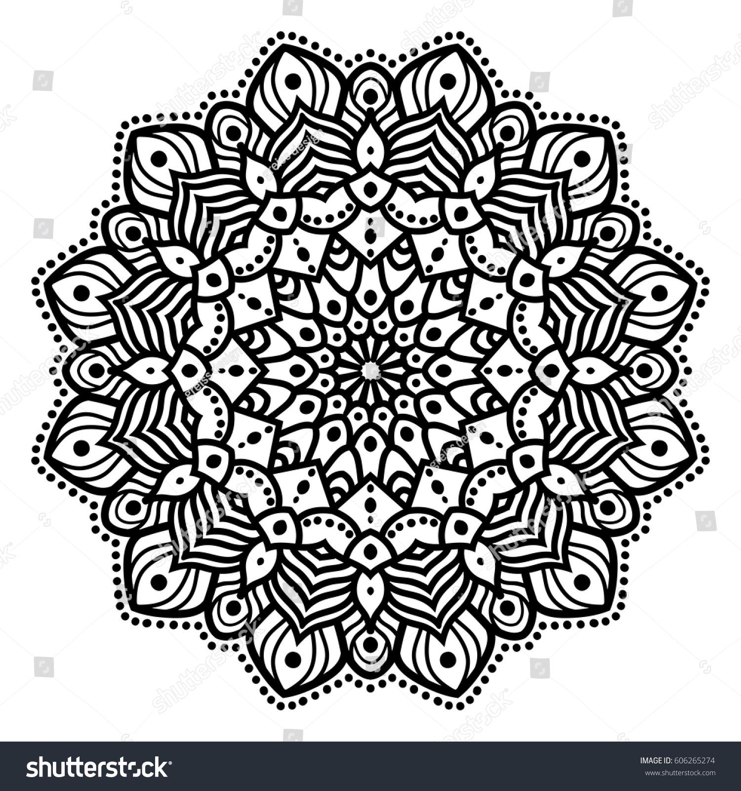 Mandala Hindu Symbol Made Black Lines Stock Vector Royalty Free