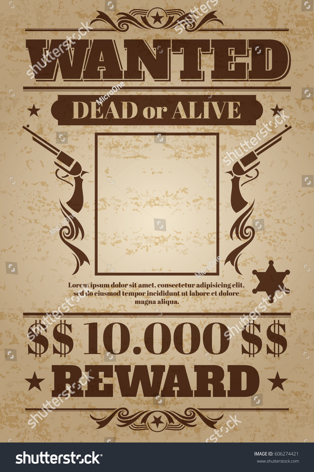 Vintage Wanted Western Poster Blank Space Vector de stock606274421 ...