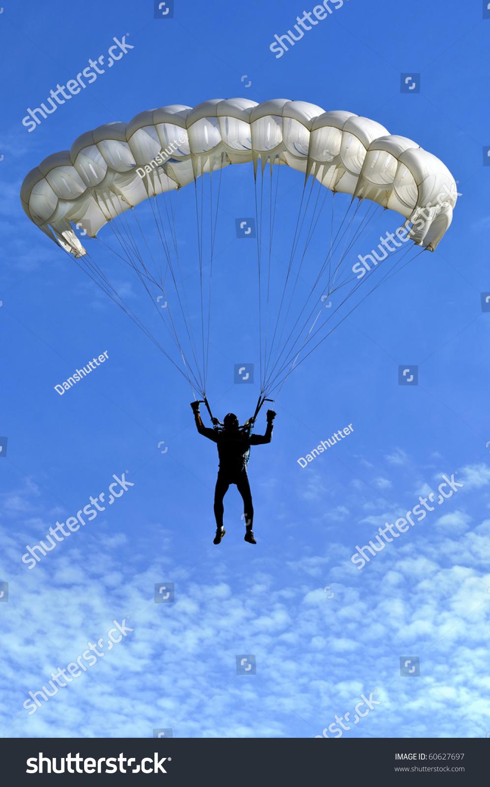 White Parachute On Blue Sky Stock Photo 60627697 ...