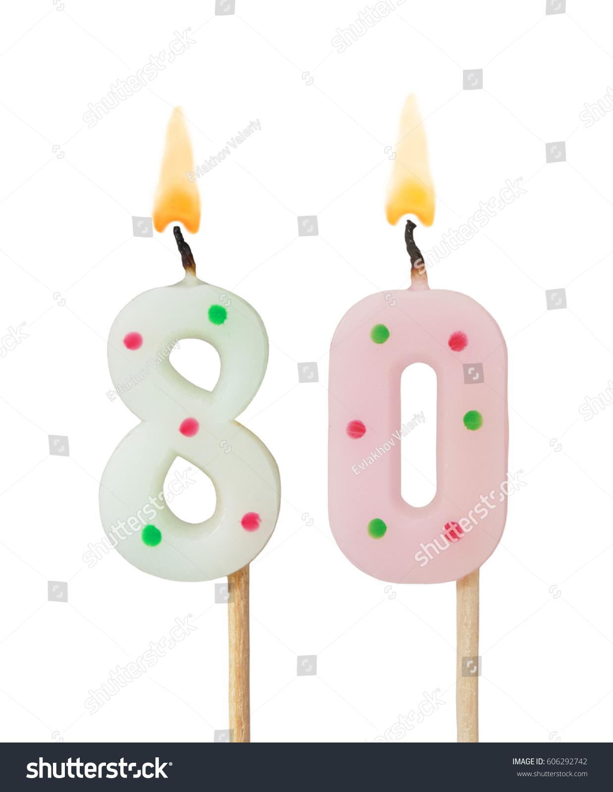 Burning Birthday Candles Isolated On White Background Number 80