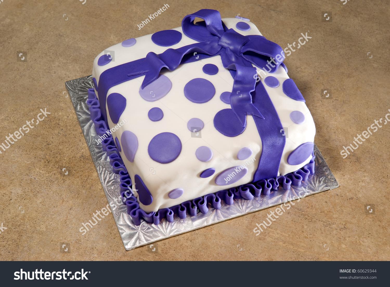 Birthday Cake Fondant Ribbon Polkadots Stock Photo