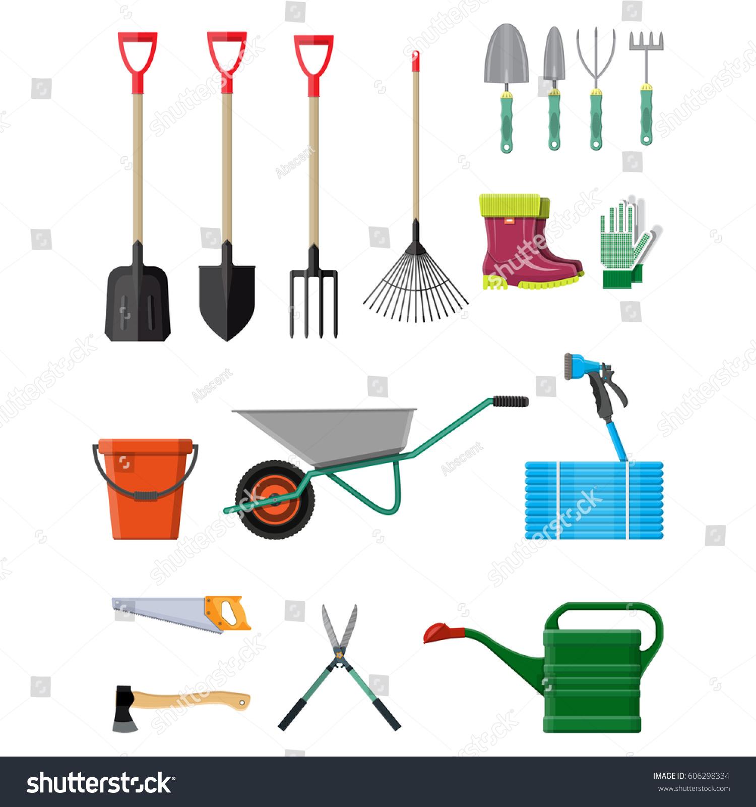 Gardening tools set equipment garden saw stock vector for Gardening tools vector