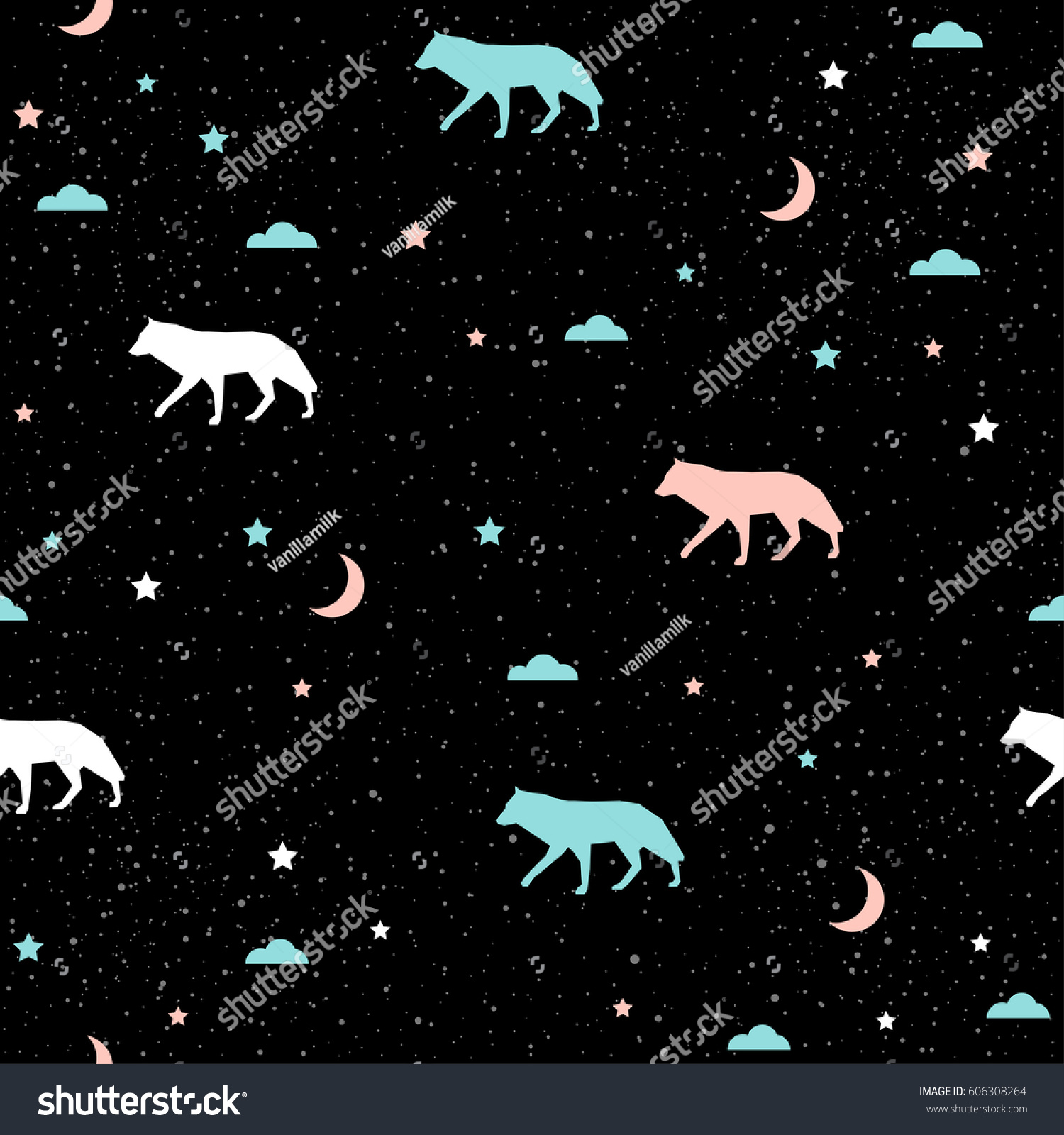 Great Wallpaper Abstract Wolf - stock-vector-handmade-wolf-seamless-pattern-background-abstract-blue-white-and-pink-wolf-pattern-for-card-606308264  HD_145149 .jpg