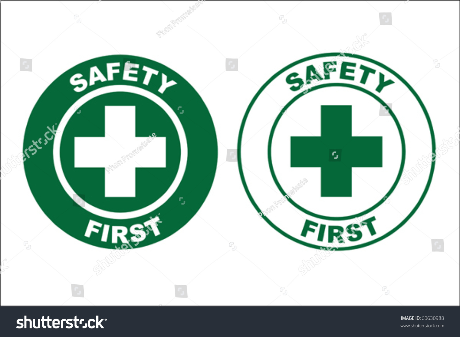 safety first sign stock vector 60630988 shutterstock. Black Bedroom Furniture Sets. Home Design Ideas