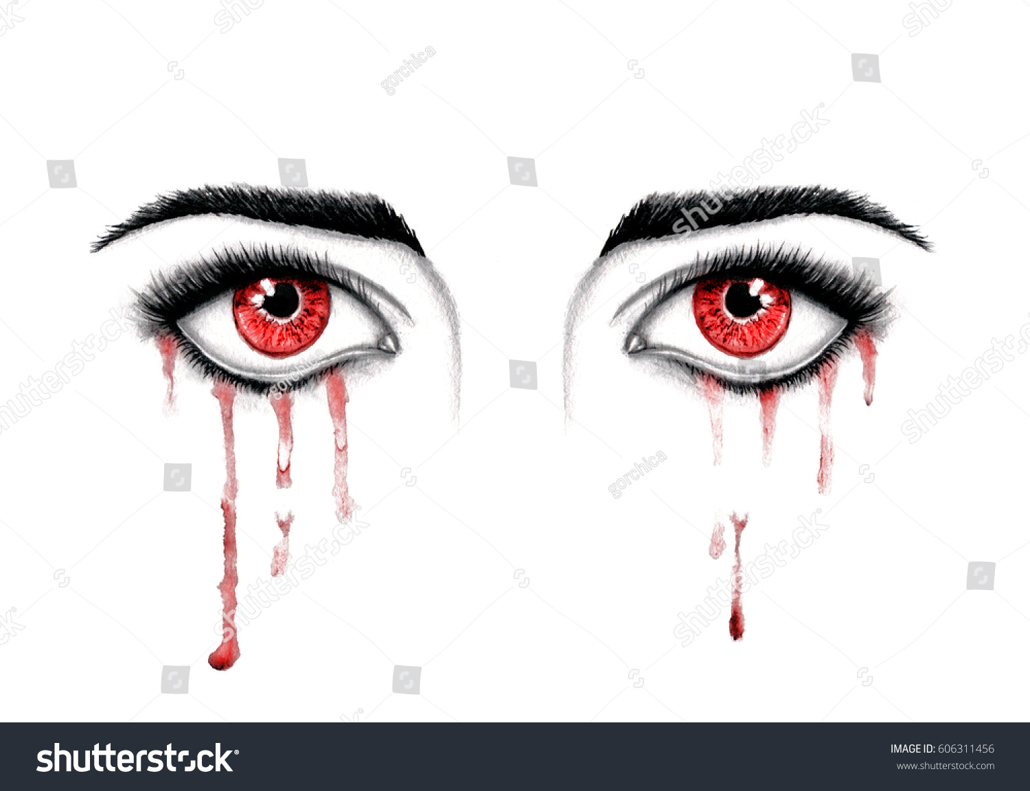 Beautiful Horror Watercolor Illustration Crying Red Stock Rh Shutterstock Com Anime Eyes With Tears Eye Infection Bloody
