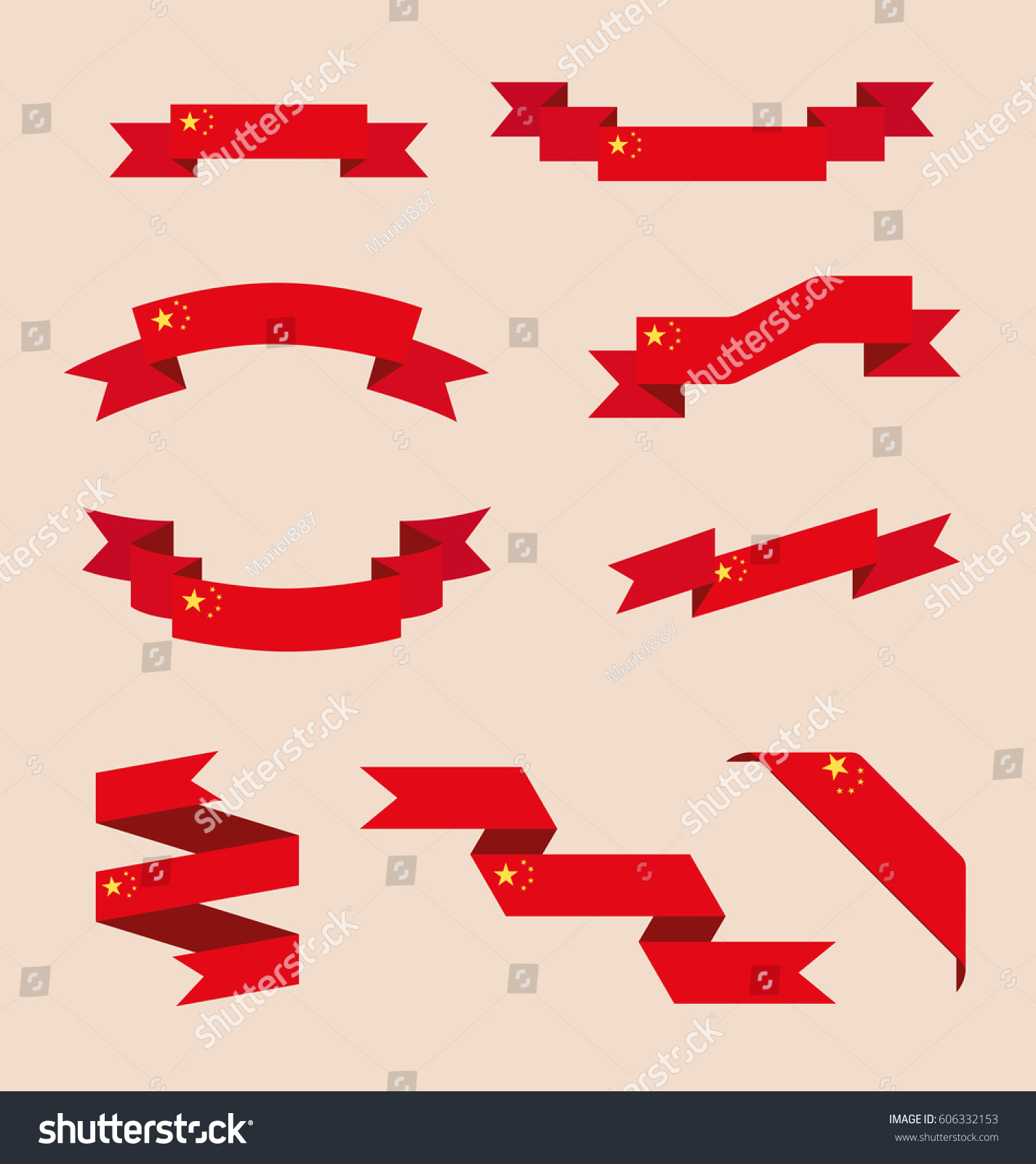 Vector Set Scrolled Isolated Ribbons Banners Stock Vector Royalty