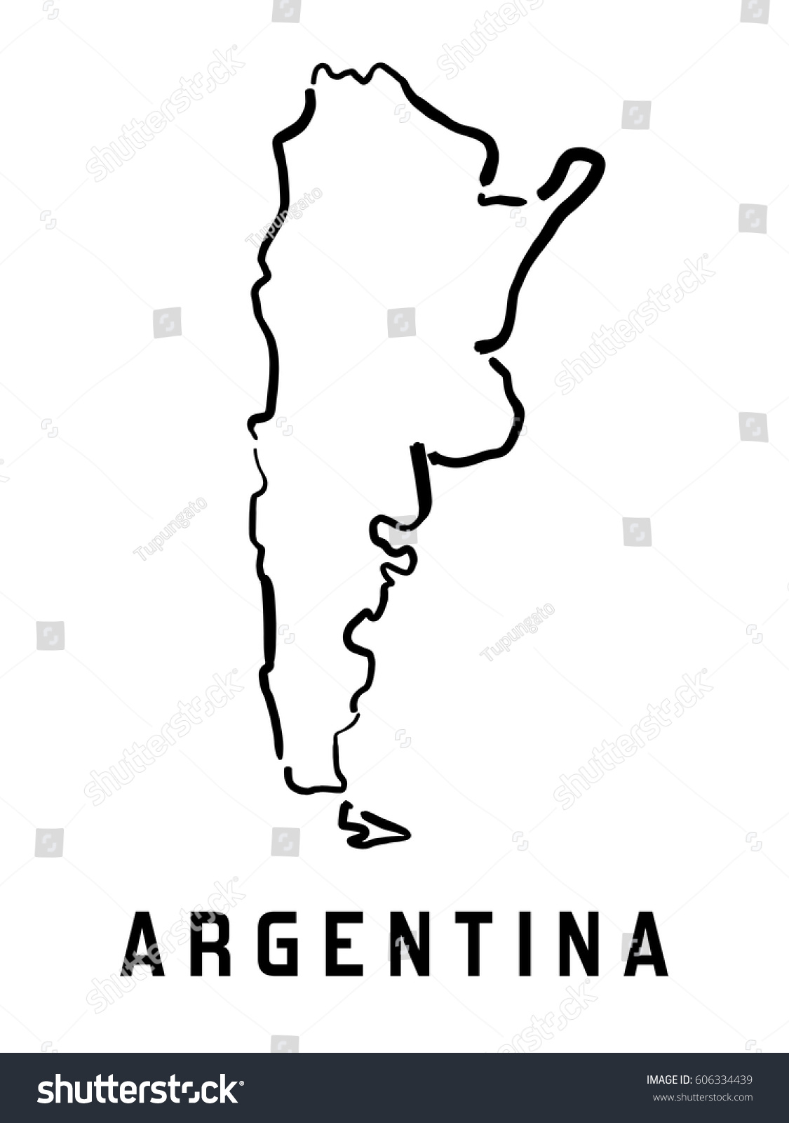 Argentina Map Outline Smooth Simplified Country Stock Vector - Argentina map outline