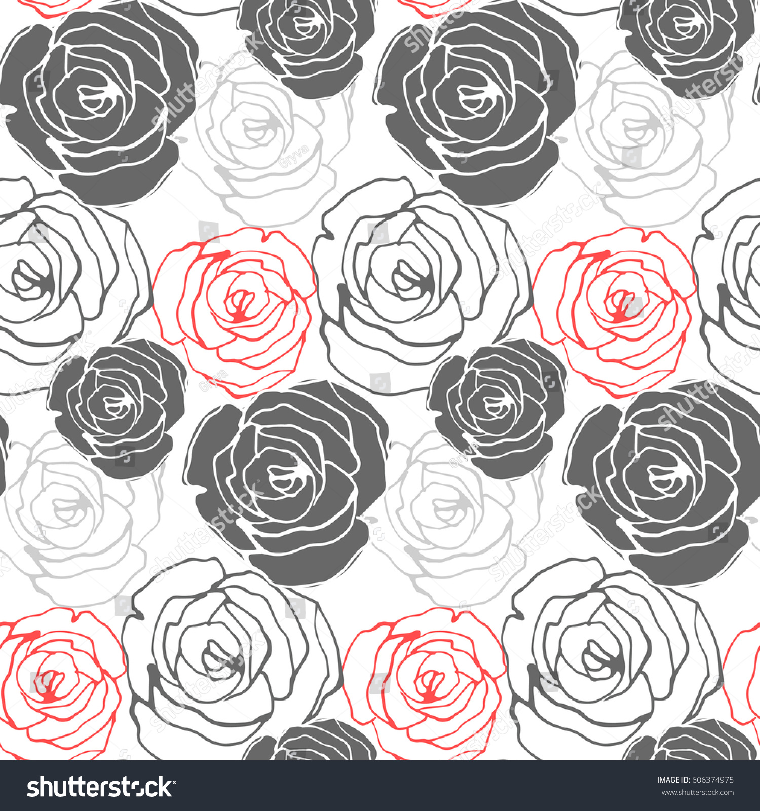 Seamless Floral Pattern Roses Vector Background Stock Vector
