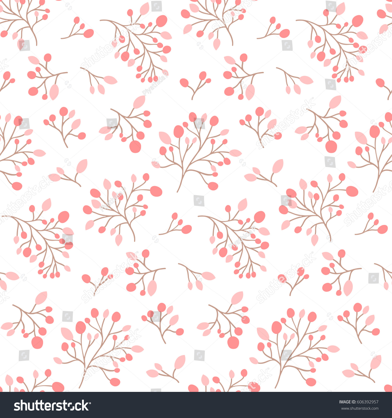 Seamless Pink Flower Pattern Cute Floral Stock Vector Royalty Free