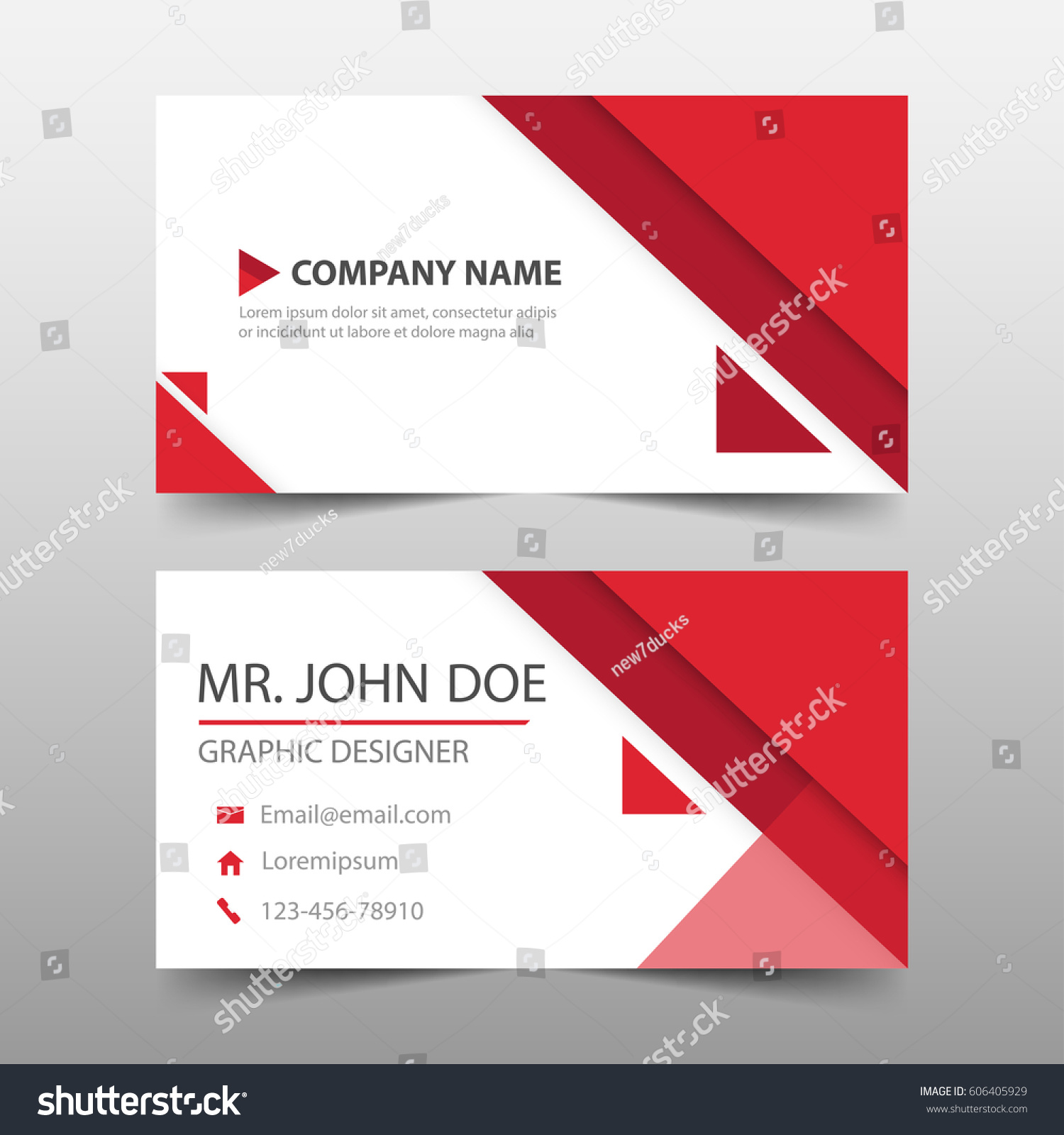 red triangle corporate business card name stock vector 606405929 shutterstock. Black Bedroom Furniture Sets. Home Design Ideas