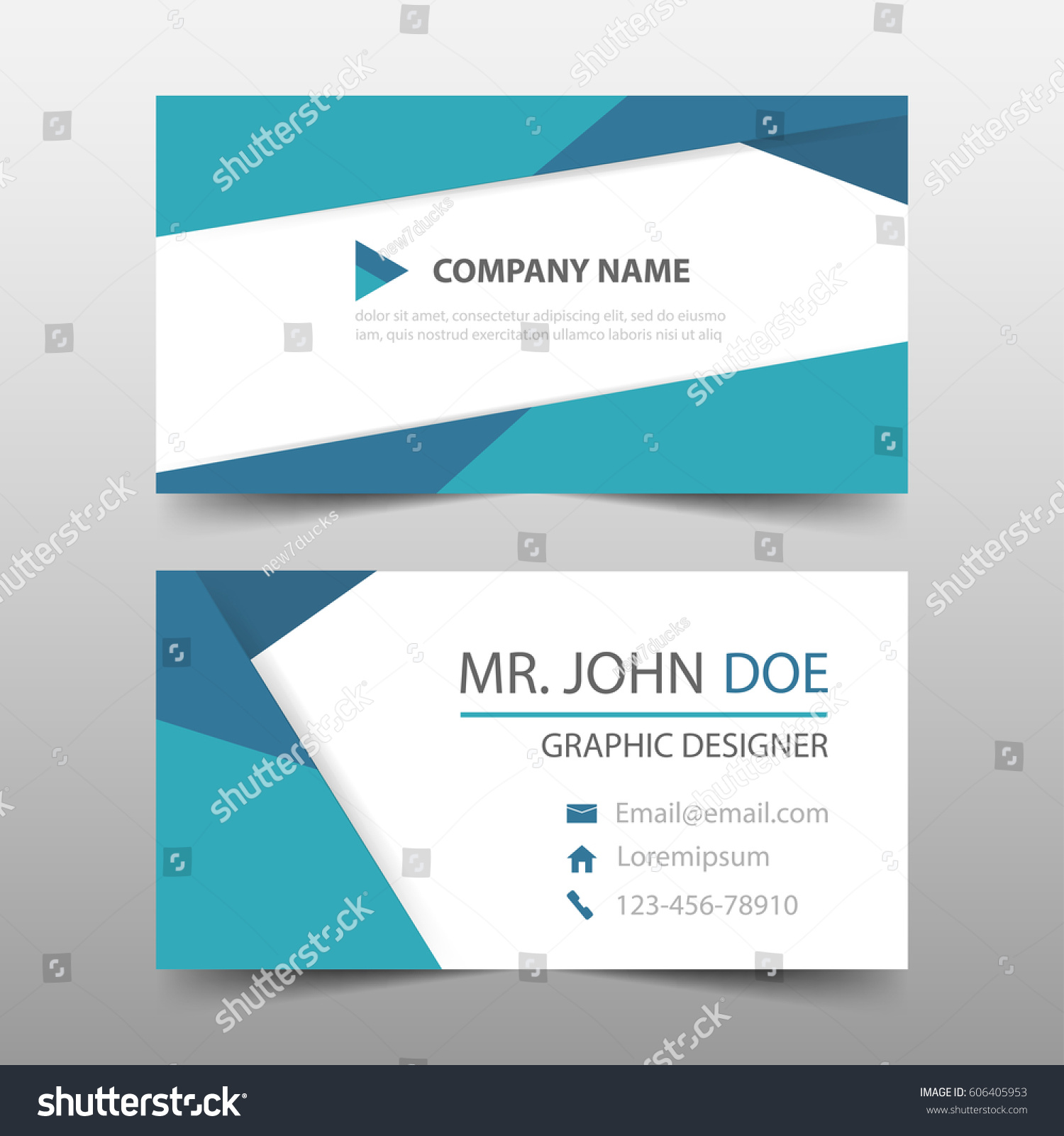 Blue Polygonal Corporate Business Card Name Stock Vector 606405953 ...