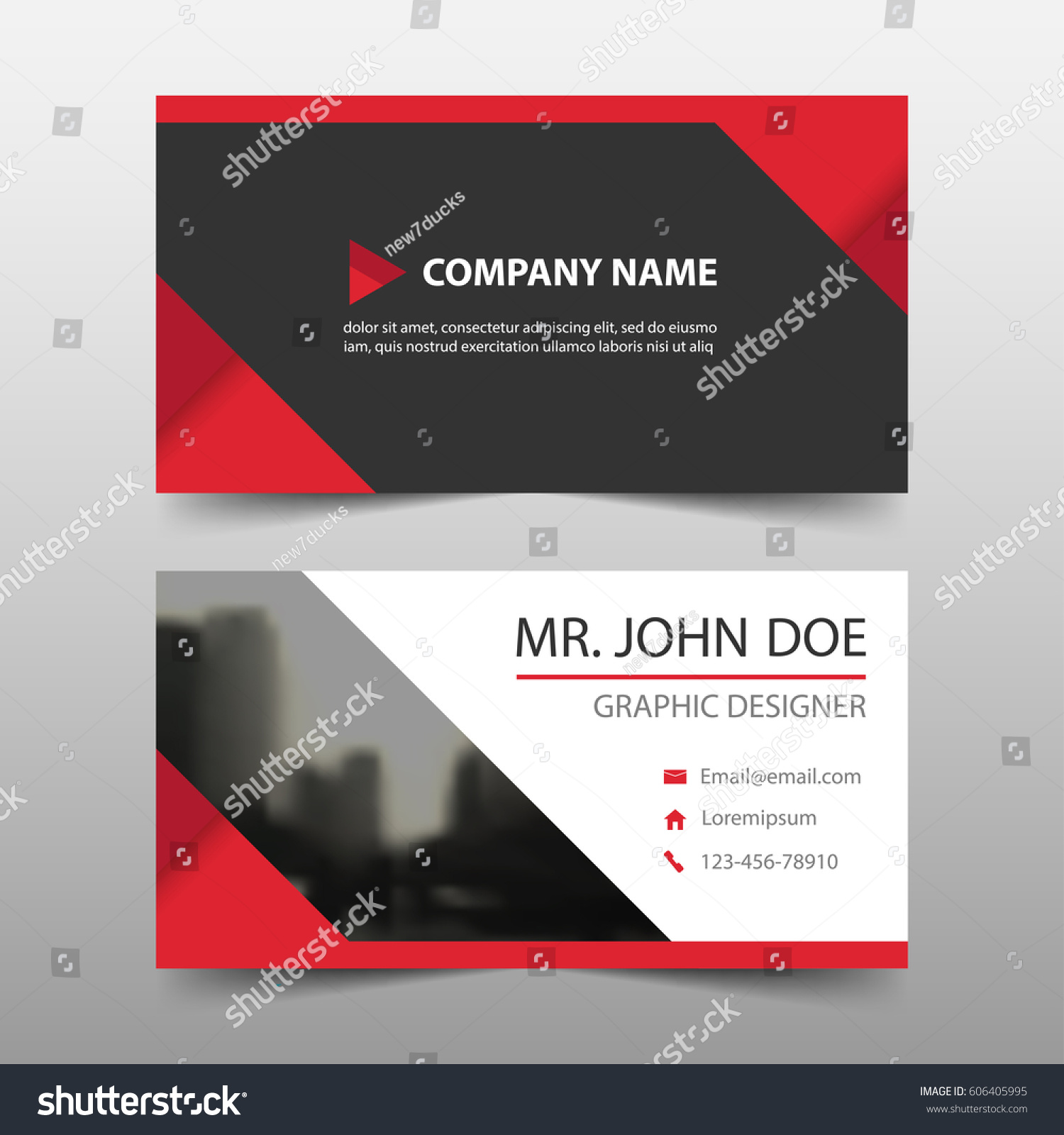 Red Triangle Corporate Business Card Name Stock Vector 606405995 ...