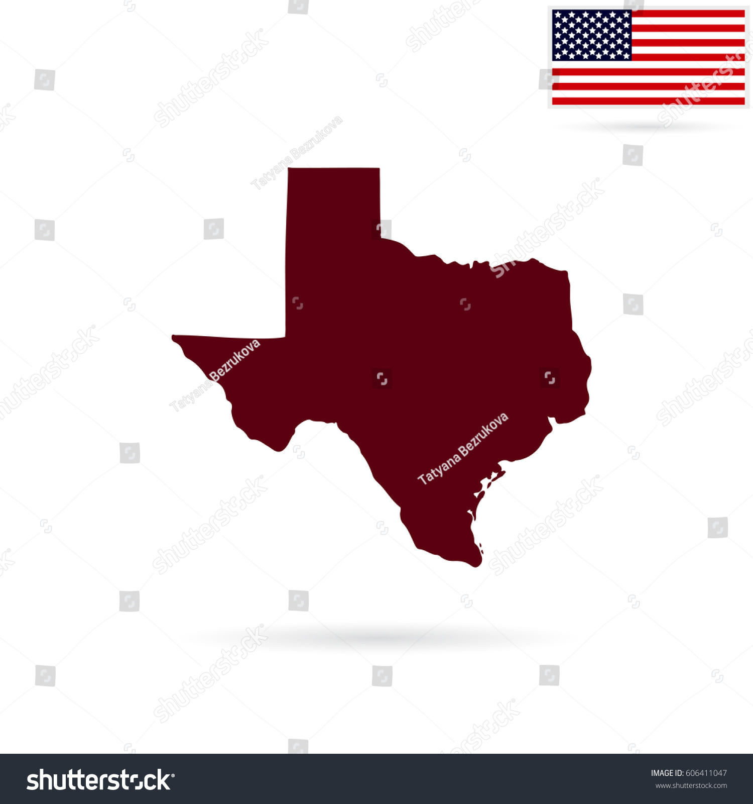 Map Us State Texas On White Stock Vector Shutterstock - Us map all white red background