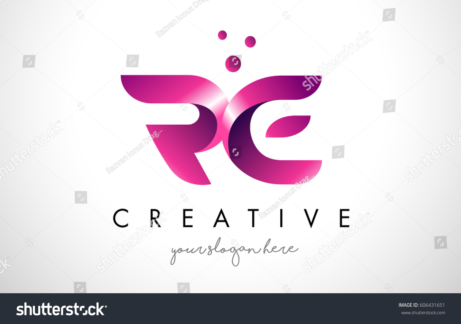 Letter Logo Design Template Purple Colors Stock Vector (Royalty Free ...