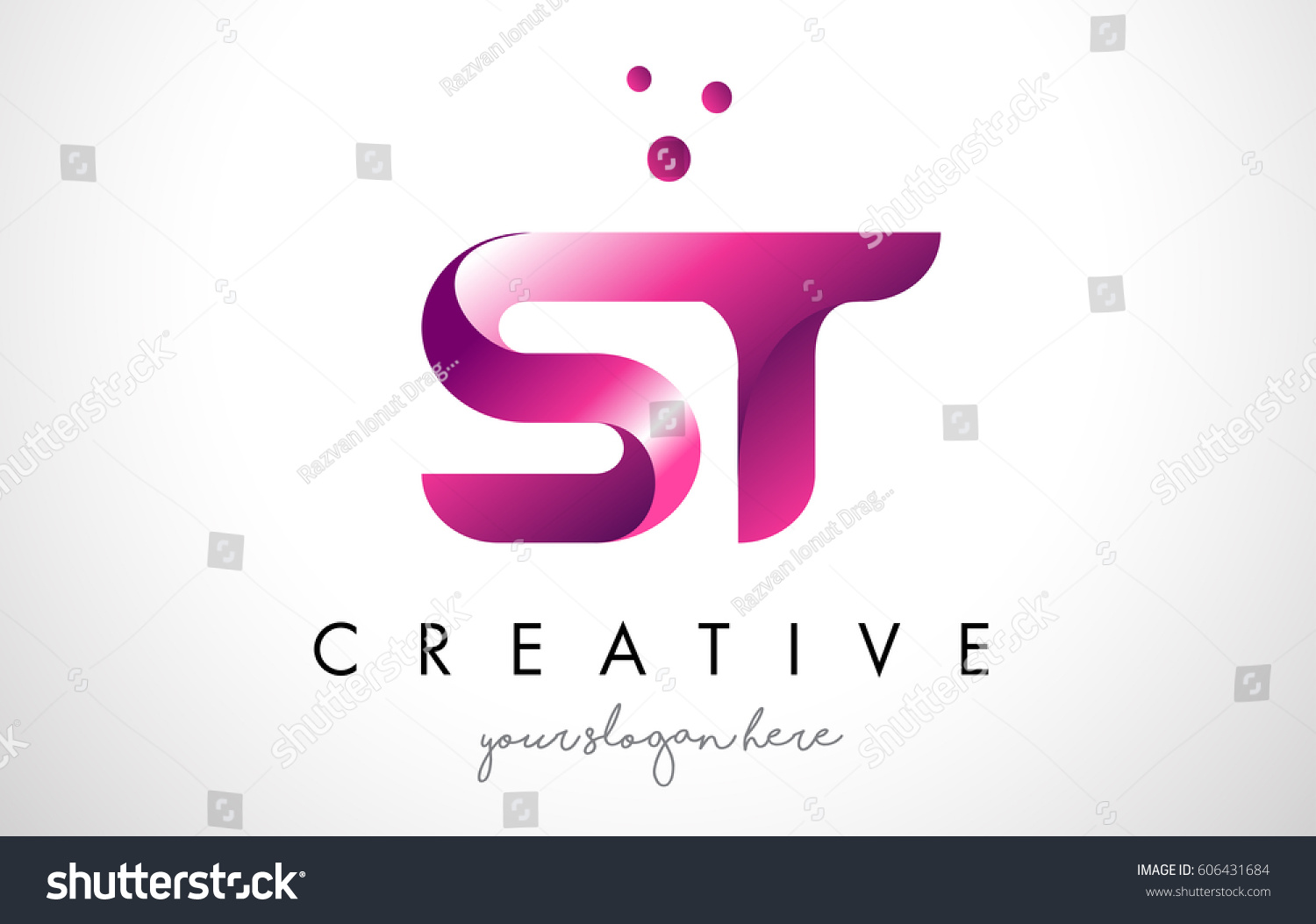 ST Letter Logo Design Template Purple Stock Vector (Royalty Free ...