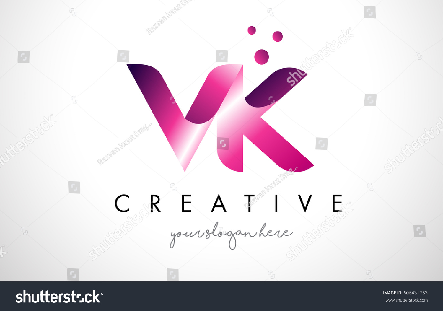 VK Letter Logo Design Template Purple Stock Vector (Royalty Free ...