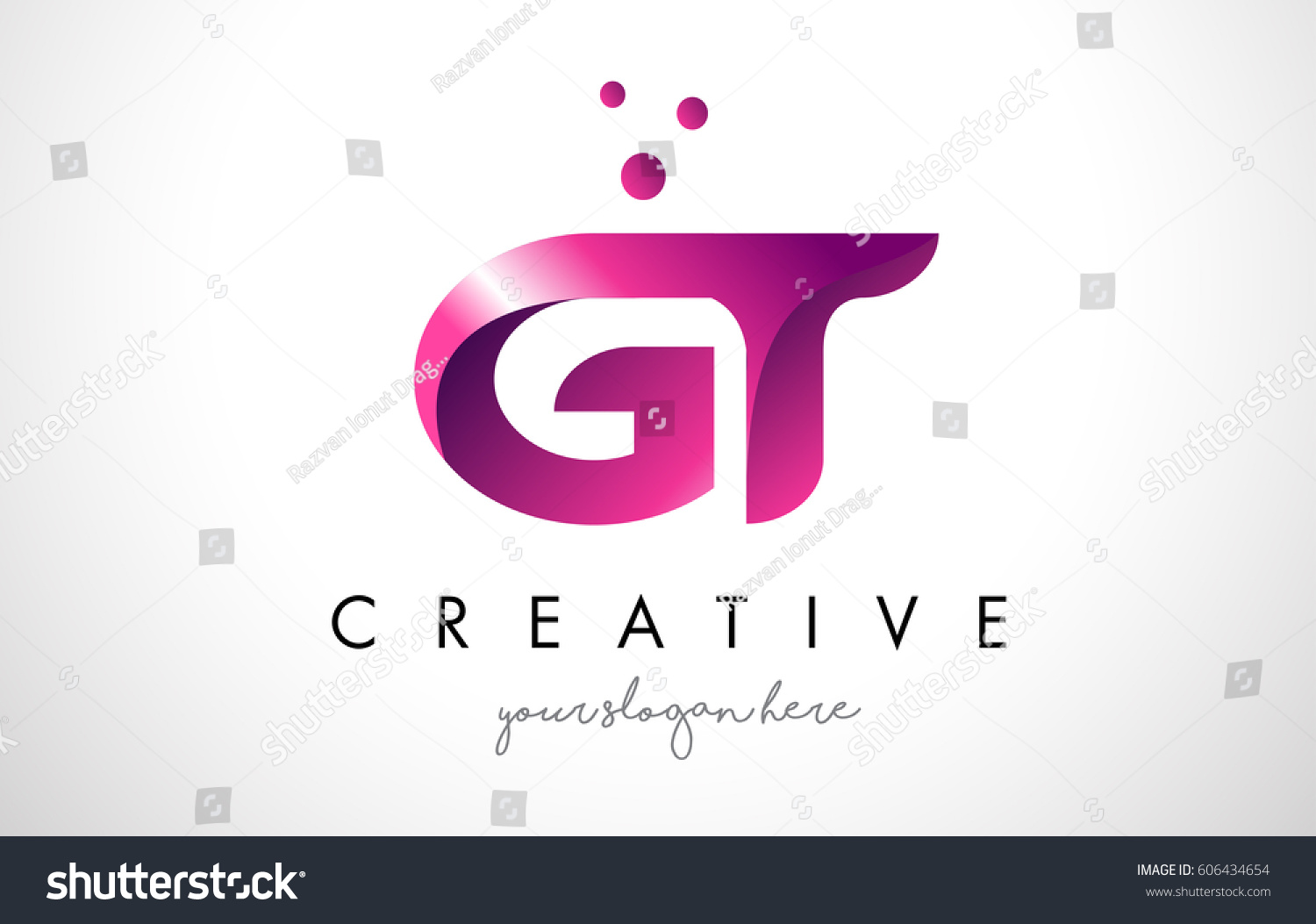 GT Letter Logo Design Template Purple Stock Vector (Royalty Free ...