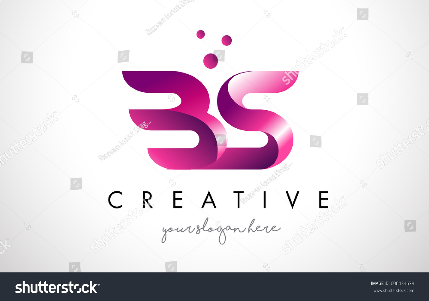BS Letter Logo Design Template Purple Stock Vector (Royalty Free ...