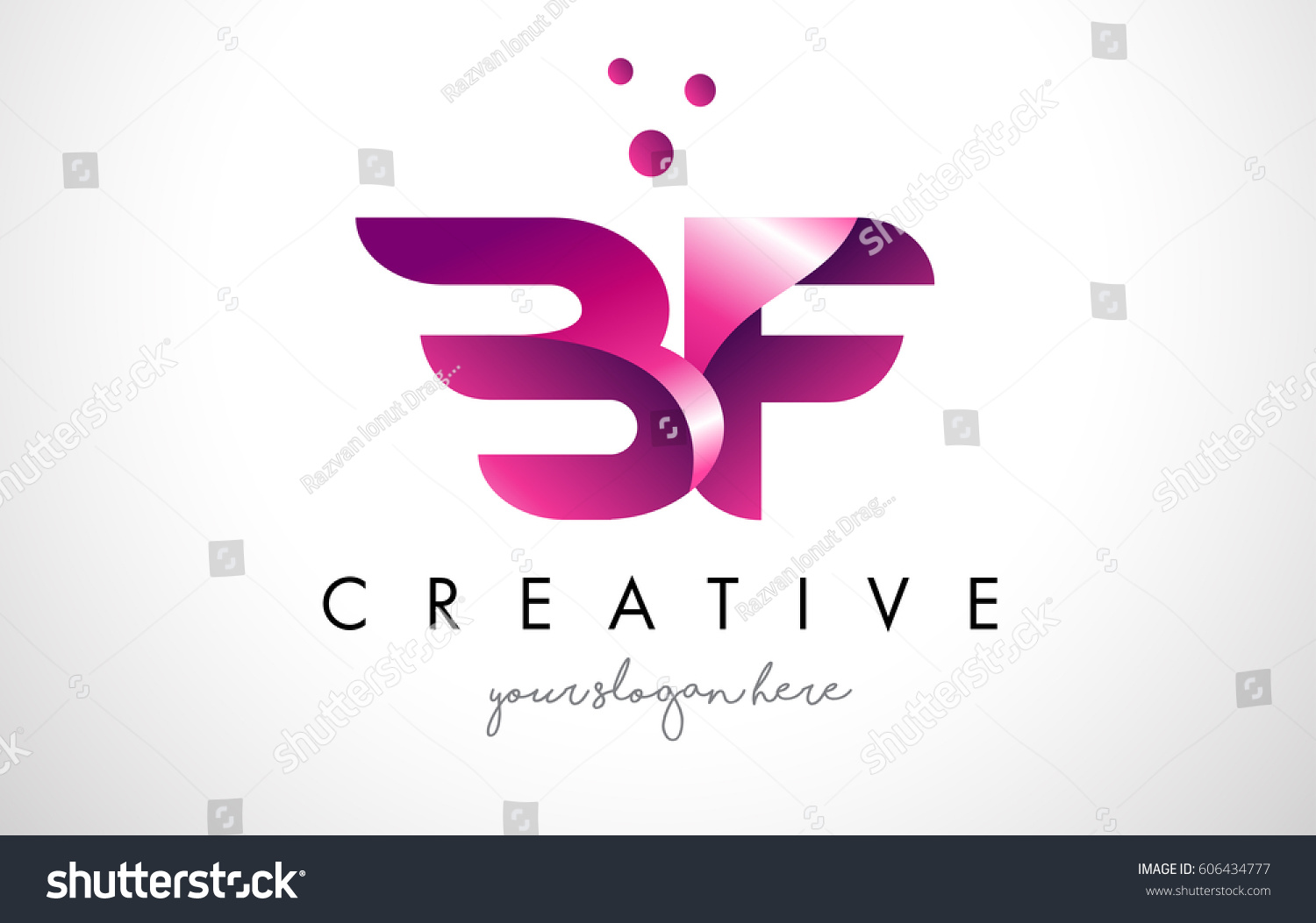 BF Letter Logo Design Template Purple Stock Vector (Royalty Free ...