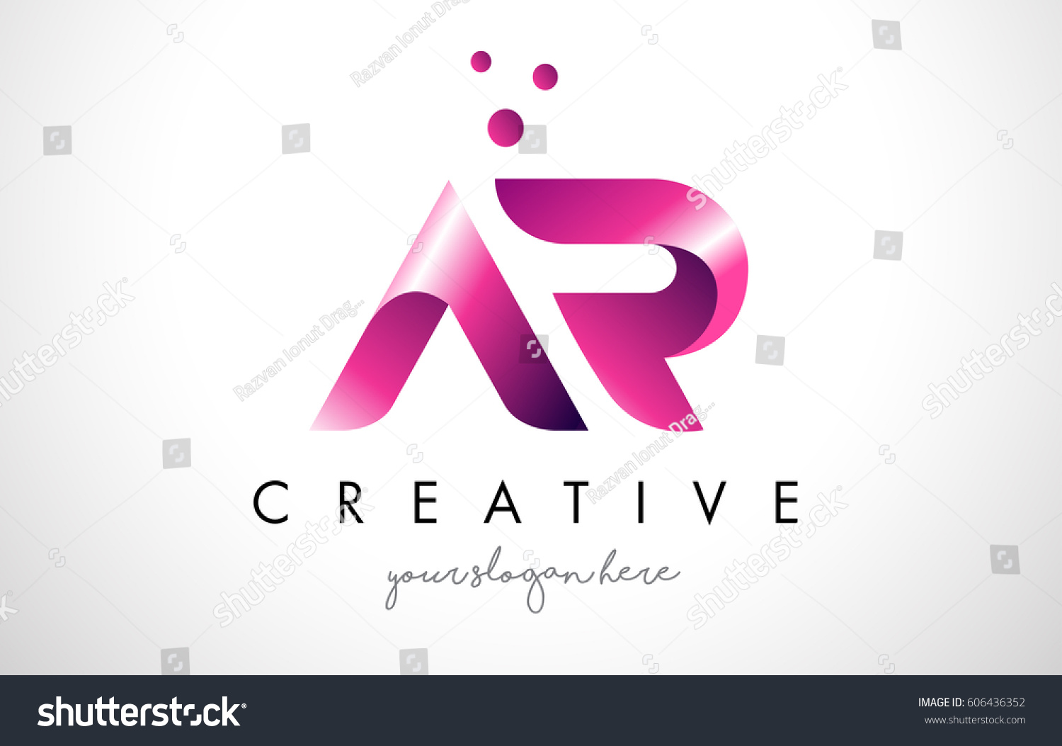 AR Letter Logo Design Template Purple Stock Vector (Royalty Free ...