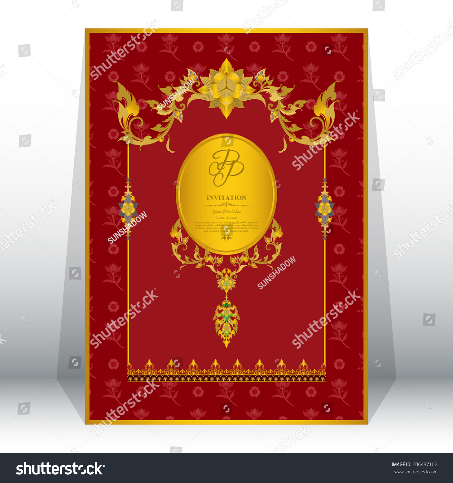 Wedding Invitation Card With Contemporary Asian Design With Stock ...
