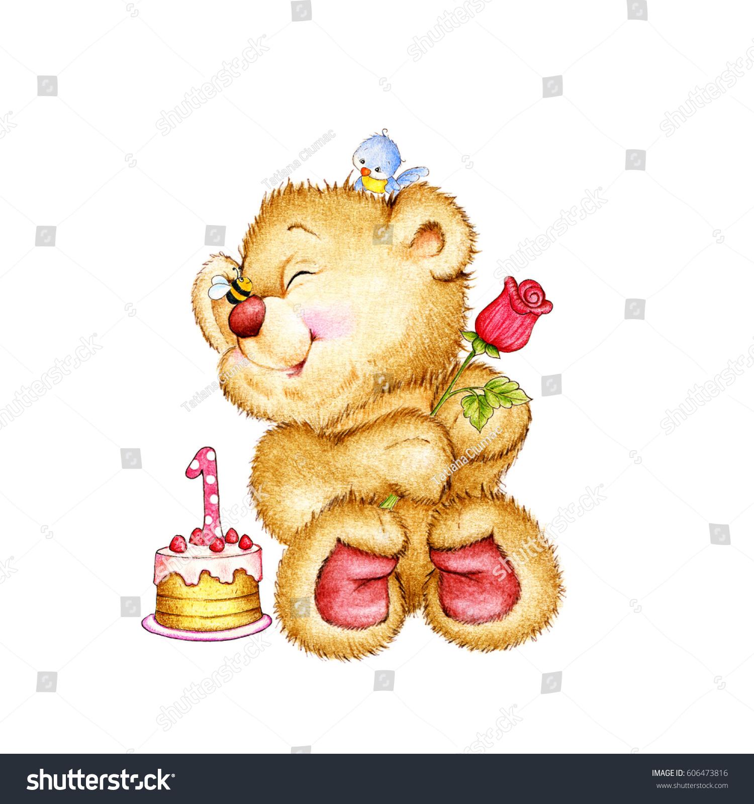Birthday teddy bear flower cake stock illustration 606473816 birthday teddy bear with flower and cake izmirmasajfo