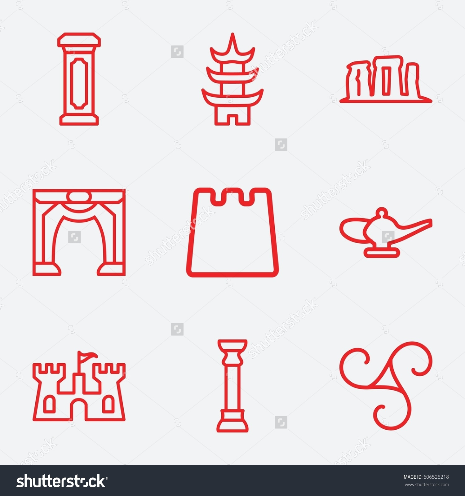 ancient icon set 9 ancient outline stock vector 606525218