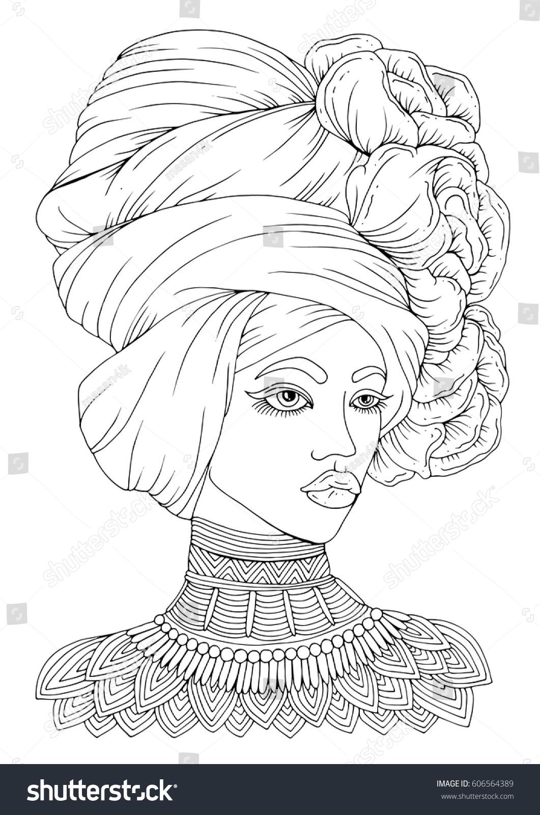 Vector Handdrawn Portrait Young Africanamerican Woman Stock Vector 606564389