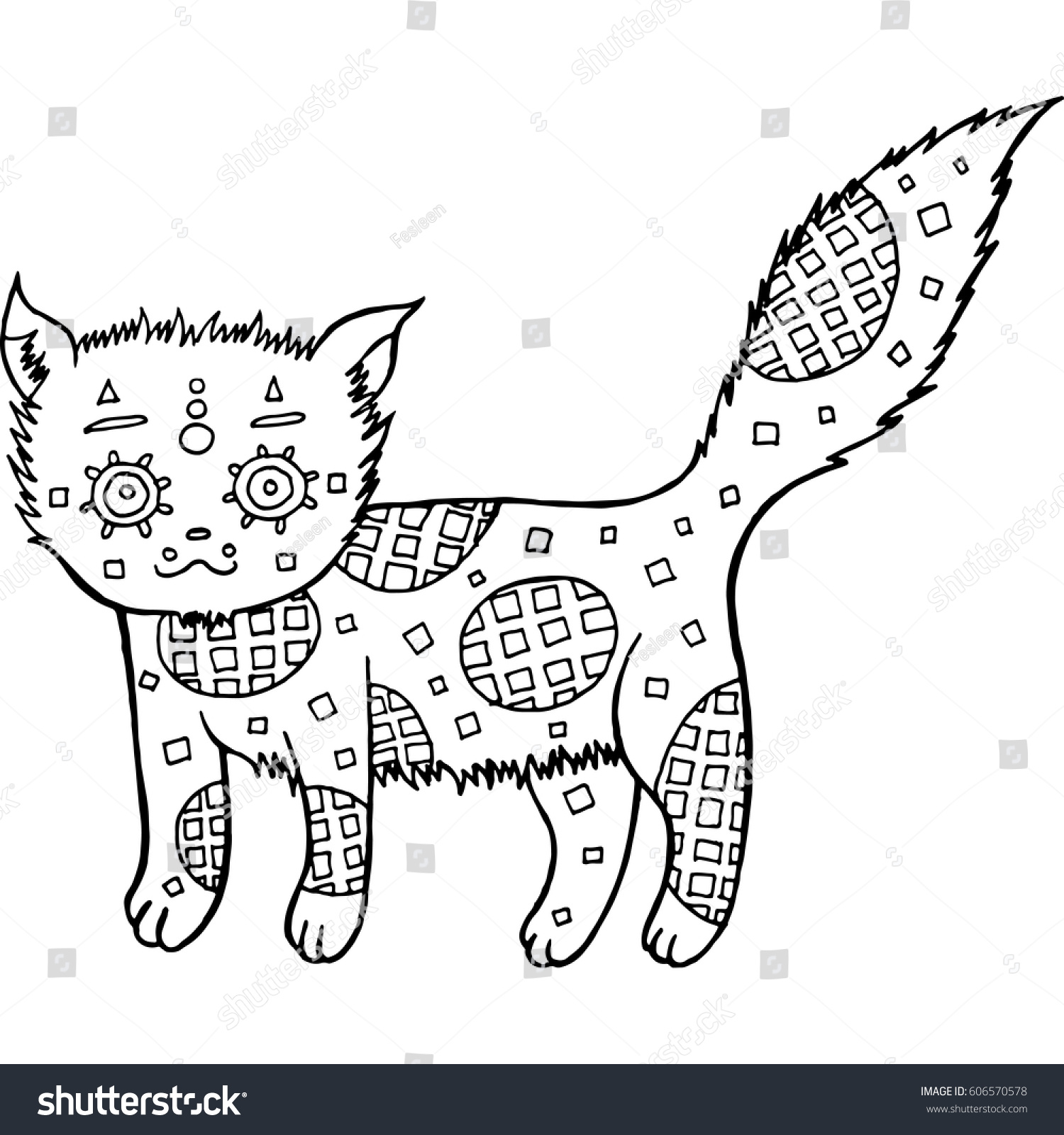 stock vector hand drawn cat coloring page funny vector illustration in black and white color for background