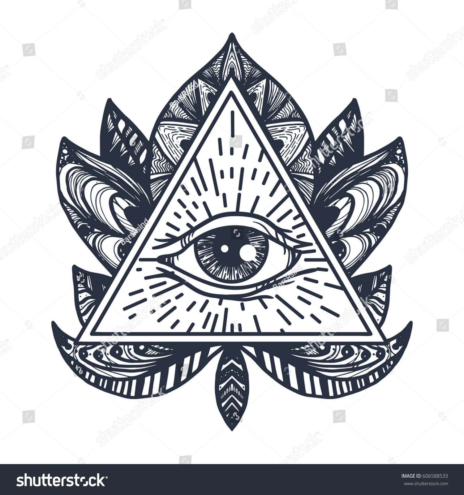 Royalty free vintage all seeing eye in mandala lotus 606588533 providence magic symbol for print tattoo coloring bookfabric t shirt cloth in boho style astrology occult esoteric insight sign with eye buycottarizona