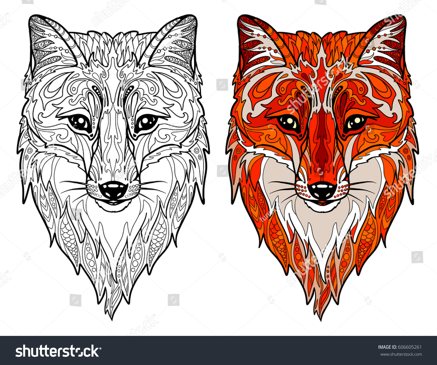 fox head doodle animal head for adult coloring book - Fox Coloring Book