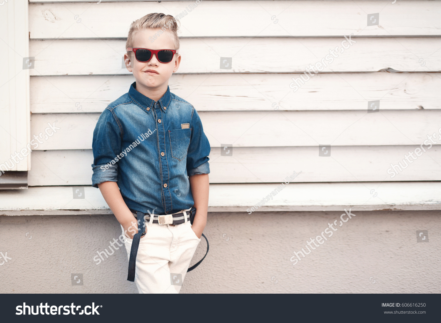 6c0c82111 Fashion Kid Summer City Stands On Stock Photo (Edit Now) 606616250 ...