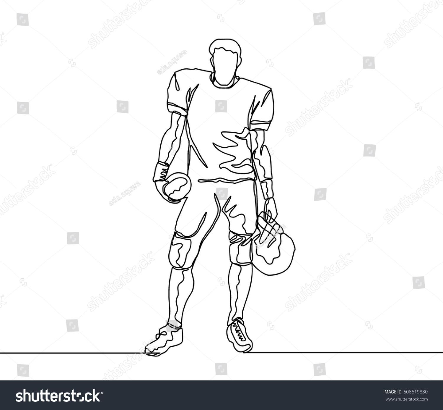 Line Drawing Football : Continuous line drawing one stock vector