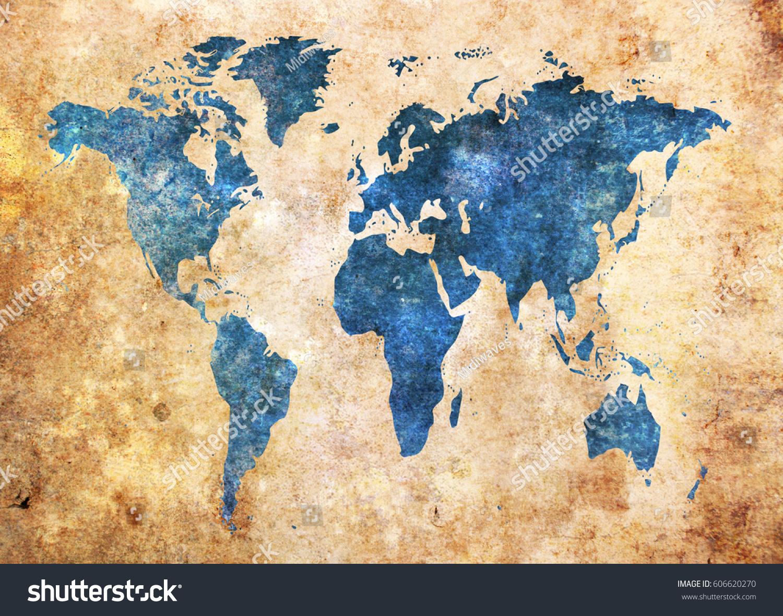 Grunge world map background stock photo 606620270 shutterstock grunge world map background gumiabroncs Gallery