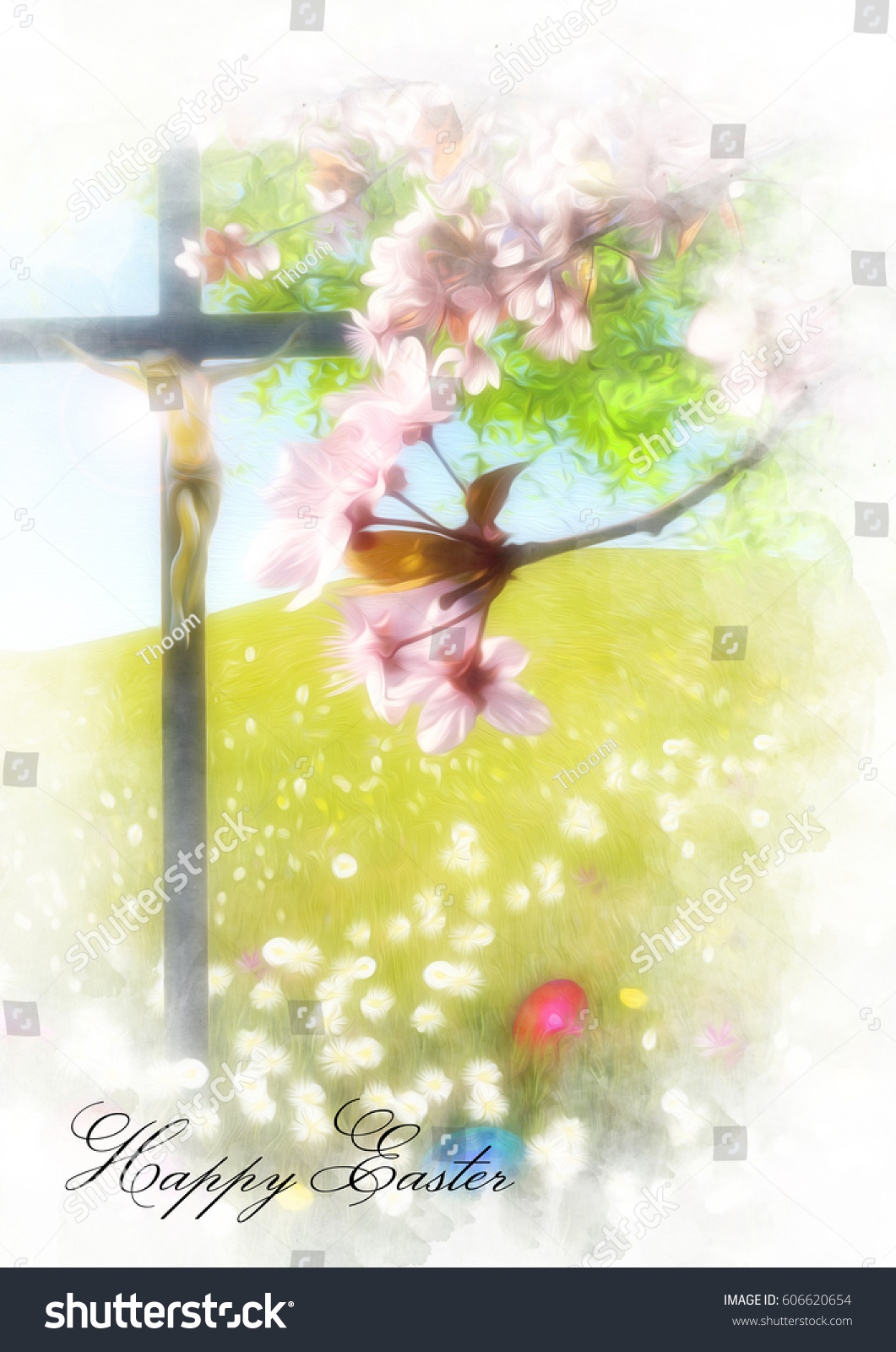 Easter Background With Flower Meadow Blossom Tree Painted Eggs In The Grass And