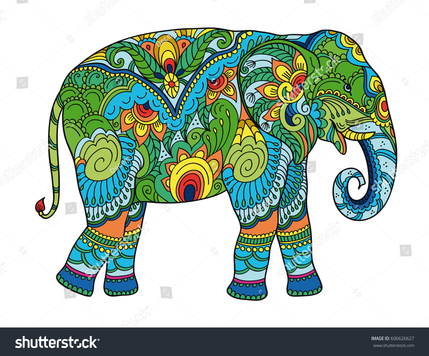 Drawing Stylized Elephant Freehand Sketch For Adult Anti Stress Coloring Book Adultpage With Doodle