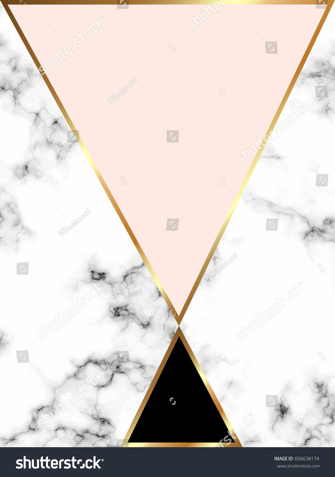 Home Decor Brochure Vector Marble Background Gold Triangles Geometric Stock