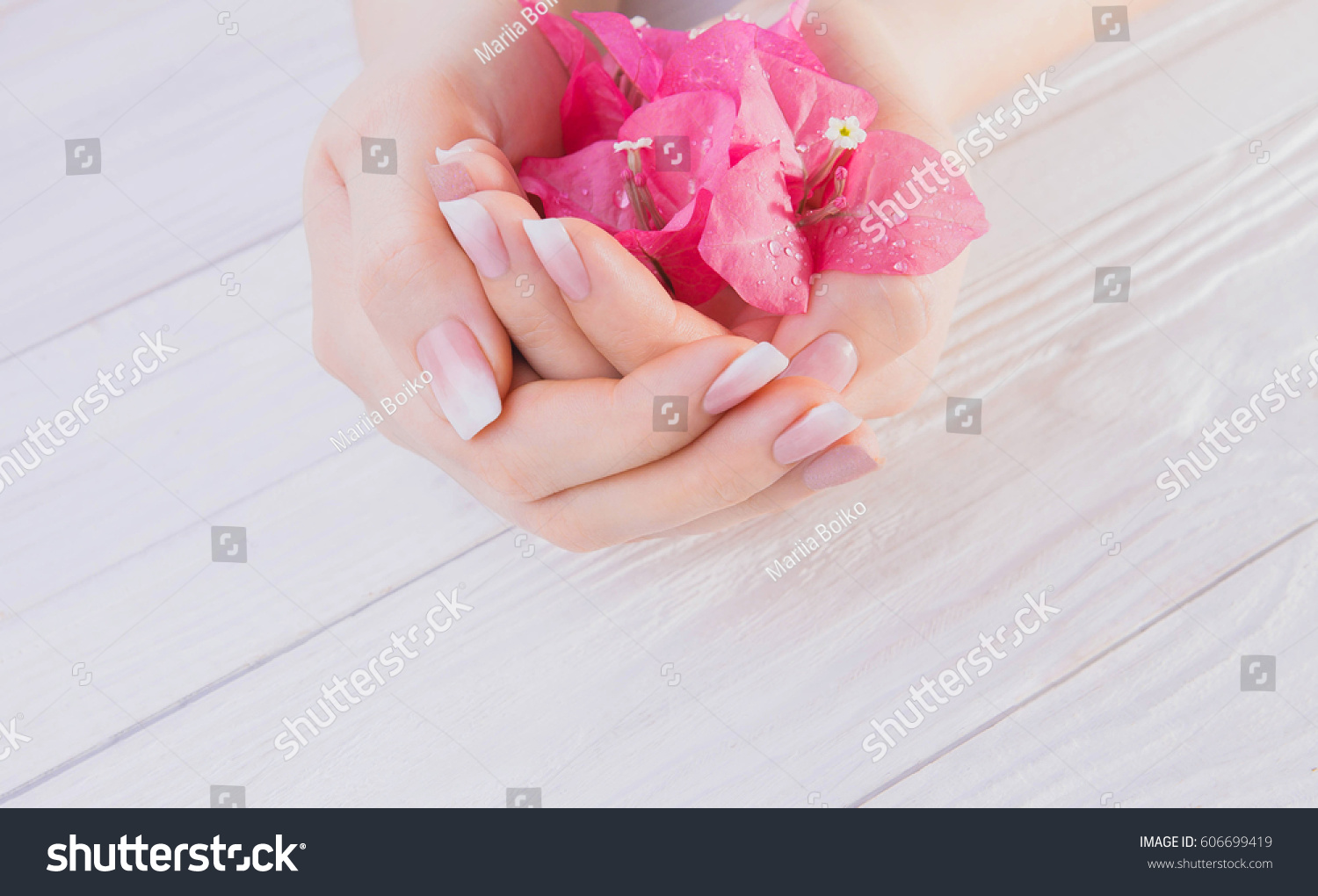 Womans Hands Ombre French Manicure Holding Stock Photo (Royalty Free ...