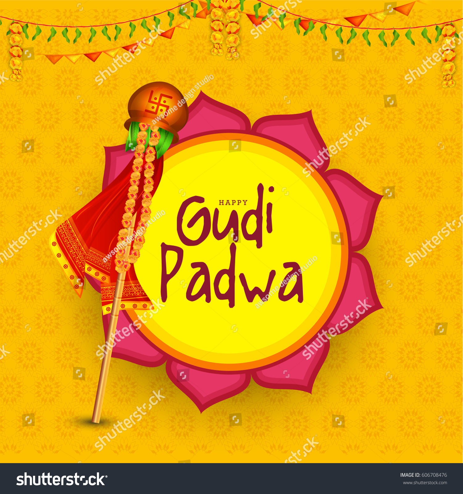 Gudi Padwa Celebration Greeting Card Background Stock Photo Photo
