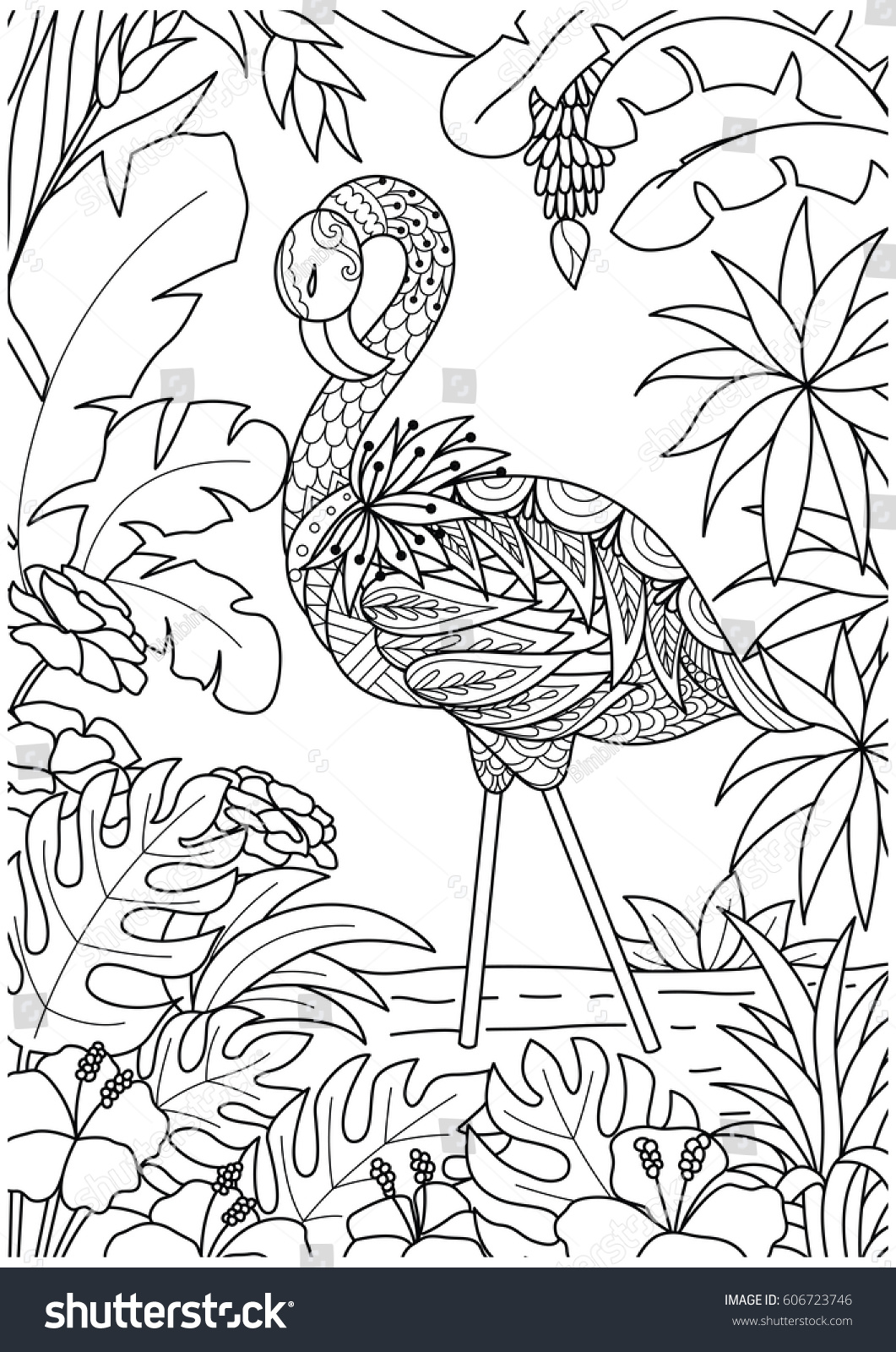 Coloring sheets for adults flamingo - Beautiful Flamingo In Summer Time For Coloring Book Page Book Cover And Other Design Element