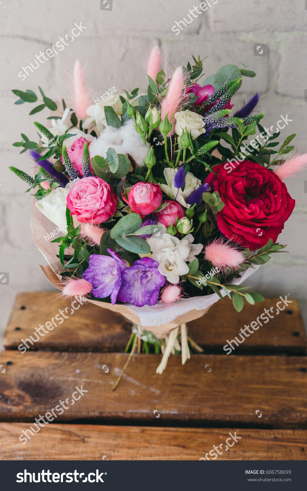 Stylish Bouquet Of Fresh Flowers Composition From Freesia Roses